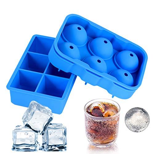 Eiswürfelformen, Mr.Van 2 Sätze 48mm Eiskugelform und 50mm 6-Fach Eiswürfelbehälter Würfel Eiswürfel Form Silikon, Ohne BPA, Big Size Ice Ball, für Erwachsene mit Bier Cocktails Whisky