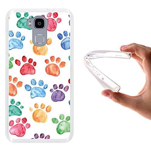 WoowCase Doogee Y6 4G Hülle, Handyhülle Silikon für [ Doogee Y6 4G ] Hund Fußabdruck Handytasche Handy Cover Case Schutzhülle Flexible TPU - Transparent