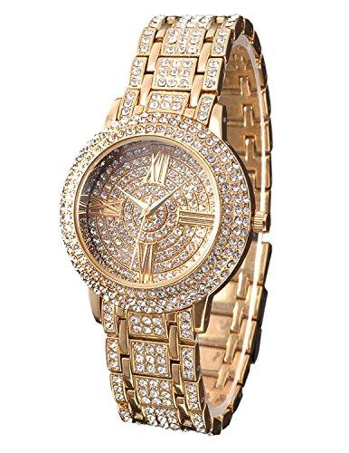 Zeiger W192 - Orologio da donna al quarzo, quadrante da 3,56 cm, placcato oro 14 K, bracciale con strass di cristallo, colore:
