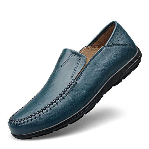Shenn Hommes Slip Plat Sur Les Chaussures De Paon Mocassins De Mariage Occasionnels Classiques En Cuir