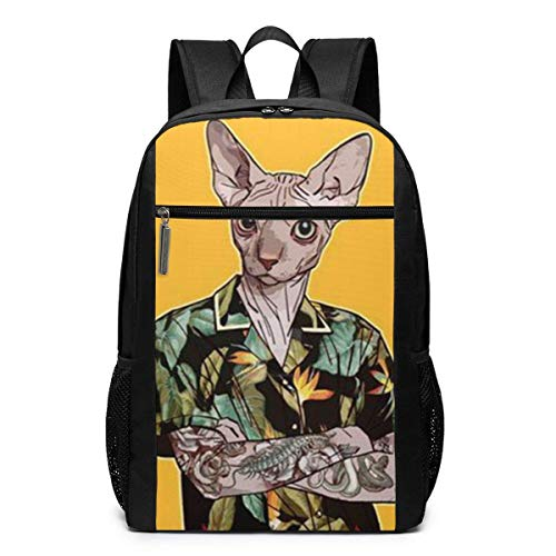TRFashion Rucksack A Cat in A Vintage Hawaiian Shirt Unisex Laptop BackpackBusiness Travel Computer Bag Backpack Classic Lightweight Resistant Backpack 17 Inch Schoolbag Book Bag for Men Women Black - Hawaiian Vintage Shirt