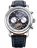 KS Herren Armbanduhr Uhren für männer Automatische Mechanische Edelstahl Leder Armband Lederband Tourbillon Uhr Silber Blau KS370