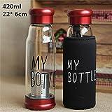 "420ml Multipurpose Infuser ""MY BOTTLE"" Glass Bottle with Bag Cover -Metallic Cap"