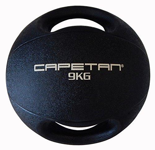 Capetan Professional Line Dual Grip 9 kg Medizinball aus Gummi mit zwei Griffen (auf Wasser schwimmend) – 9 kg Cross Training Medizinball mit Griffen