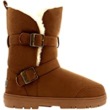 Mujer Twin Buckle Short Fur Lined Impermeable Invierno Rain Nieve Botas
