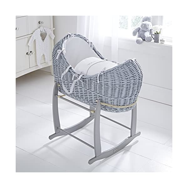 Clair de Lune Noah Pod (Silver Lining, Grey)  Made in the UK 100% Cotton Waffle Available in various colour Wicker Baskets 2