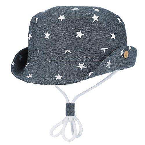 Kinderhut Fischerhut Sonnenhut Strandhut Babymütze Sonnenschutz UV-Schutz Blau Sterne Hut Umfang 54cm ()