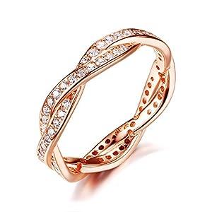 Presentski 925 Sterling Silber Promise Ring mit CZ, Rose vergoldet