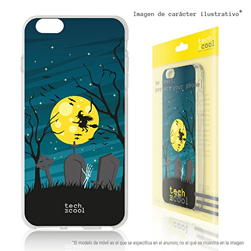 Tech® SchutzHülle Premium Soft Flex TPU Silikon Transparent für Nokia 1 l Case, Cover, Handy [Exklusives Design, High Definition Druck] [sehr helle Farben] [Ultra Dünn 1,5mm] [Kratzfest] (Klar) [Bruja halloween fondo] (Casas De Brujas Halloween)