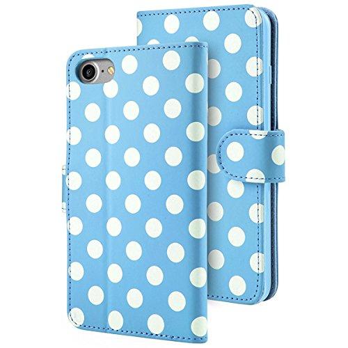 iPhone 7 Lederhülle, iPhone 8 Lederhülle, i-Blason Dünne Leder Tasche Klappbar Leder Case mit Magnetverschluss, Ständer, Kartenfach für Apple iPhone 7 / iPhone 8, Schwarz Blau/Weiß