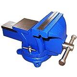 Schraubstock 100 mm 360° drehbar für Werkbank mit Amboss, Parallel Blau