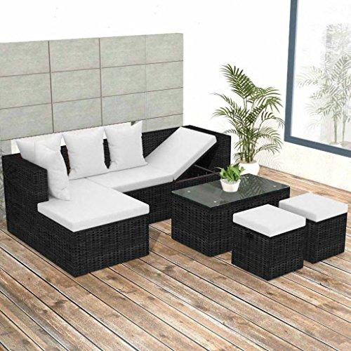 Tidyard- set divani da giardino, set divano esterno 12 pz in polirattan modulare nero