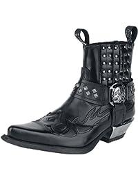 New Rock Hombres Cuero Motorista Largo Zapatos - M.272 (EU 43, Negro)