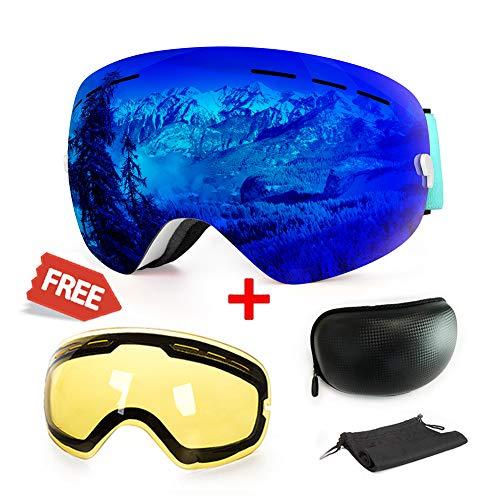 Skibrille, mit Beschlag und UV-Schutz, für Wintersportarten, Snowboardbrille mit austauschbarer, sphärischer Dual-Linse, für Männer, Frauen und Jugendliche, für Schneemobil, Skifahren oder Skaten