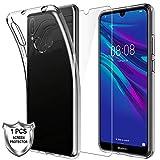 KundL LK Hülle für Huawei Y6 2019 / Honor 8A,[rutschfest] Schlanker Weiche Flex Silikon TPU Schutzhülle Case Cover mit Panzerglas Folie[1 Stück] für Huawei Y6 2019 / Honor 8A - Transparent
