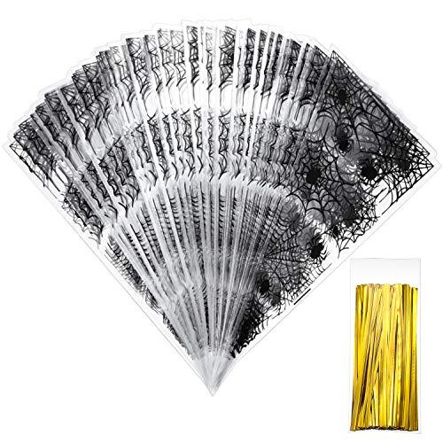 100 Grafen 33 x 17 cm Spider Net Kegel Cellophan Taschen Halloween Taschen mit 100 Stück Gold Twist Ties für Halloween Party Gefallen