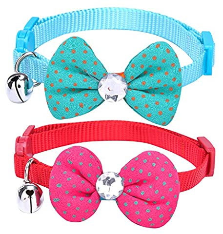 PUPTECK 2pcs/set Designer Soft Adjustable Nylon Cat Breakaway Collar Kitty Puppy Dog Bowtie Necklace with Bell