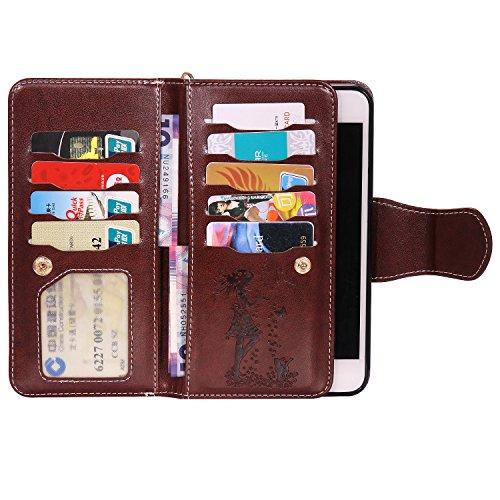 iPhone 7 PLUS Hülle Rose Gold Cozy Hut® PU Leder Wallet Case Folio Ledertasche Handyhülle Case für Apple iPhone 7 PLUS (5.5 zoll) mit Magnetverschluss [Trageschlaufe Cover] Flip Bookstyle Wallet Ständ braun