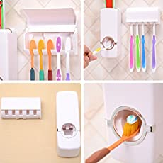 REAL CRAZE Touch Me Automatic Toothpaste Dispenser Tooth Brush Holder, Automatic Wall Mount Toothpaste Dispenser +Toothbrush Holder (White)
