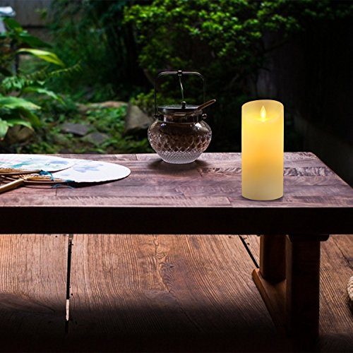 Marfil 6 pulgadas (Diametro 8cm) sin goteo velas sin llama incluyen realista llamas y 10 teclas de control remoto, 24 horas temporizador, decoracion regalo para el día de San Valentín, boda, fiesta