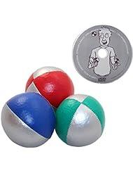 """Juggle Dream - Pack de 3 x bolas de malabares profesionales y DVD """"Aprender malabarismo"""", color rojo/plata, azul/plata, verde/plata (AMPAC-015/ST)"""