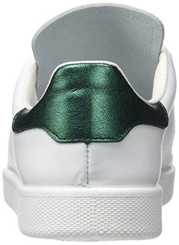 Victoria - Deportivo Basket Piel, Basse Unisex – Bambini Blanc et Vert (Verde)