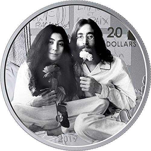 Power Coin GIVE Peace A Chance Lennon ONO 50 Jahrestag 1 Oz Silber Münze 20$ Canada 2019 - 20-dollar-münze