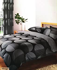 BLACK & GREY PRINTED KING SIZE DUVET COVER BED SET