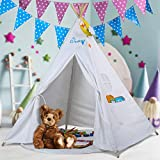 WolfWise TeePee Tent for Children– Classic Indian Play Tent for Kids with Five Wood Poles, 100% Natural Cotton Canvas, Gift for Kids boys girls Indoor