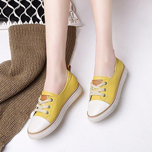 HWF Chaussures femme Chaussures pour femmes de printemps Shallow Mouth chaussures simples en cuir chaussures de sport étudiant plat chaussures Casual chaussures ( Couleur : Bleu clair , taille : 36 ) Le Jaune