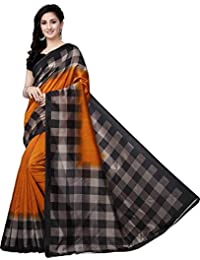 Fragrance Trendz Women's Art Silk Kalamkari Printed Saree With Blouse Piece.(Saree Chex_Free Size)