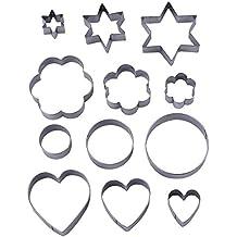 12 Pezzi Taglierine del Biscotto del Metallo Formine per Biscotti Stampi per Biscotti,3 Forma stelle,3 Fiori Forma,3 Figura Rotonda,3 Cuori Forma(Assortiti Taglie)
