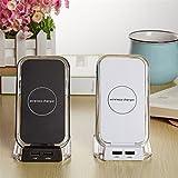 ZYX Qi Wireless-Ladegerät Dual-USB-Ladegerät Schnell Wireless-Ladegerät Halter Für Samsung S9 S8 Plus Xiaomi Mix 2S Für iPhone,White