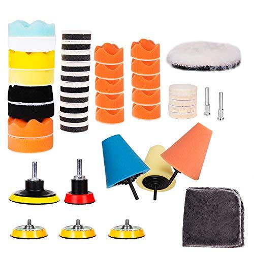 Hakkin 47 teilige Polierset Polierschwamm Set Poliermaschine Schwamm Auto polieren für Sauber machen Lackpflege Poliermaschinen für Autoschleifen, Polieren, Wachsen, Versiegelungsglasur (bunt)