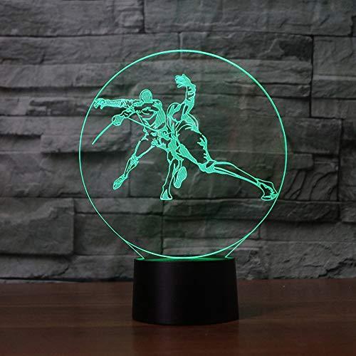Mzdpp 3D Led Illusion Visuelle Beleuchtung 7 Farbwechsel Touch Switch Nachtlicht Fechten Form Für Kinder Geburtstag Geschenke Schreibtischlampe