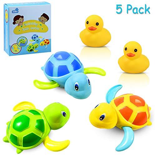Yojoloin 3 Farben Baby Badespielzeug,Baby Bade Bad Schwimmen Badewanne Pool Spielzeug Uhrwerk Schildkröte Schwimmbad Spielzeug und 2 Stück Gummi Quietschente Für Kleinkinder Jungen Mädchen(5 Stück)