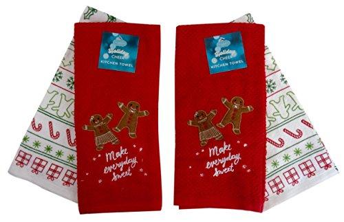 Weihnachten Lebkuchenmann Make Everyday Sweet Küche Handtücher, Zwei Sets (2). Holly Candy Dish