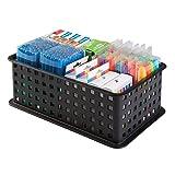 Suministros De Oficina Best Deals - mDesign - Canasto para almacenamiento en el hogar o la oficina; para suministros de escritorio/escuela - 12,7 x 1,3 x 22,3 cm - Negro