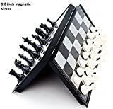 #9: E-Global Shop Folding 100% Standard Materials and Smooth Surface Magnetic Chess Board Black and White 9.5 inch