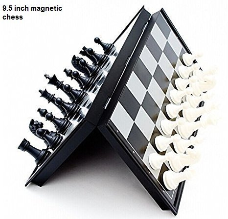 E-Global Shop Folding 100% Standard Materials and Smooth Surface Magnetic Chess Board Black and White 9.5 inch