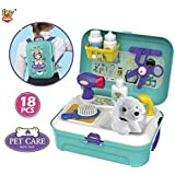 Toy Arena Play Set For Toddlers & Kids Veterinarian Kit Toy With A Plush Dog & 16 Care Accessories & Pet Doctor Instruments – Colorful Toy Set For Play Pretend Examination & Treatment
