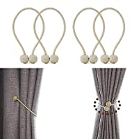 JQWUPUP Strong Magnetic Curtain Tiebacks European Curtain Holdbacks Drape Woven Rope Clips Holder for Sheer and Blackout Panels 4 Pieces Beige 16881109
