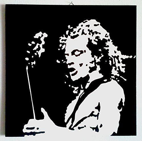 ANGUS YOUNG AC/DC MARCO DE FOTOS MADERA DE DM PINTADO A MANO, DISEÑO DE POP ART