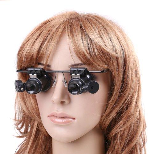 Preisvergleich Produktbild Andoer 20X Fach Brille Vergrößerungsglas Lupenbrille mit verstellbar LED Lampe