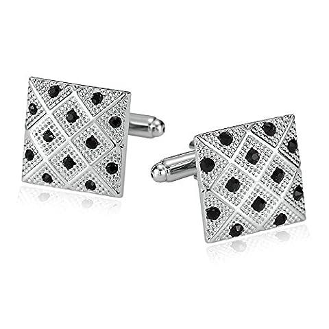 amdxd Jewelry Manschettenknöpfe für Herren Edelstahl quadratisch filigraner Silber Schwarz 1,8x 1,8cm