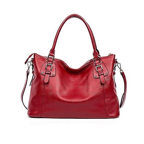 BOSTANTEN Leder Damen Shopper Designer Handtaschen Umhängetasche Tote Bag Rot