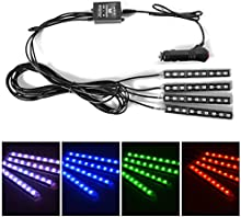 XCSOURCE® 4 piezas 8 color Kit de iluminación interior LED Footwell, Interior Atmosphere Neon Lights Strip Para coche con función de música activa y control remoto IR MA750