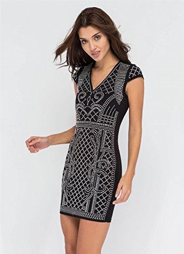 a Maniche Corte Scollo Profondo a V Rhinestone Beaded geometrica Pattern Mini Bodycon Aderente Fasciante Vestito Abito Nero