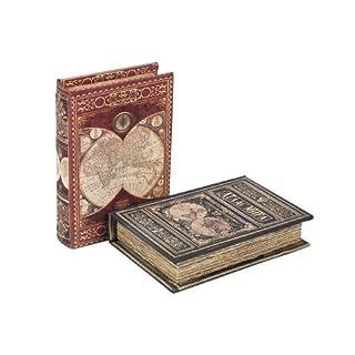 Art Deco Home - Schachtel in Buchform Weltkarte x 2 Modelle, 13x9 cm - 14213SG