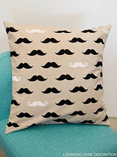 Unbekannt Belle Vie Coussin Housse de Coussin Moustache Nature 50 x 50 cm